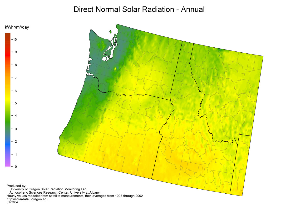 UO SRML Northwest Solar Resource Maps